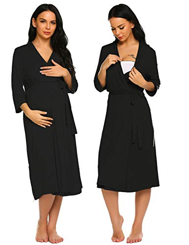 Ekouaer Cotton Robes Women Night Bathrobes Loungewear,5355 black,Medium