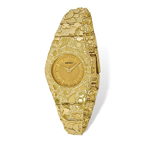 Brilliant Bijou Women's Solid 10k Yellow Gold Dial Fold Over Nugget Watch - 7 inches