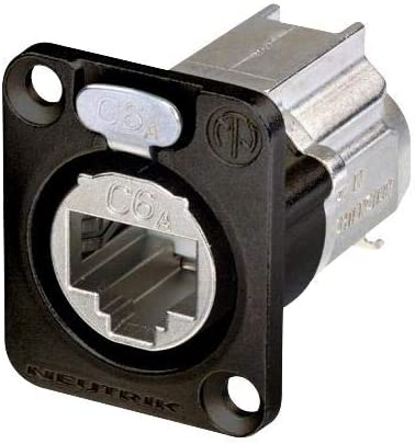 Modular Connector Cat6a 1 x 1 Port RJ45 Jack NE8FDX-Y6-B Cable Mount, 8P8C Pack of 2