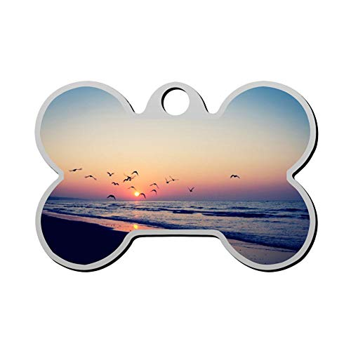 YIGEREEN Personalized Collar Tag Pet ID Tags for Cat and Dog - Bone Shape Sunset and Sea ()