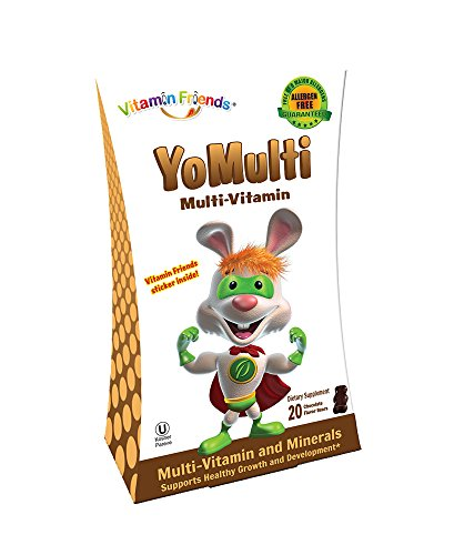 Vitamin Friends YoMulti - Kids Multi Vitamin & Minerals Dietary Supplement Chocolate bite. Great Taste, Growth & Developement, 20 Count, in a Blister to Avoid Melting During Shipping. Kids Love it!