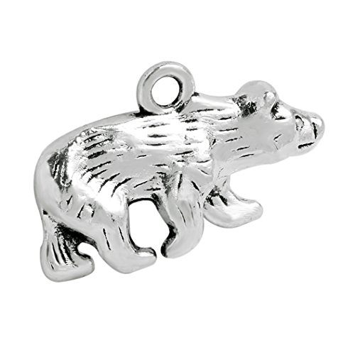 20 Pieces Brave Bear Protection Powers Lucky Charms Findings Jewelry Pendants Necklaces Making 24 X 15mm