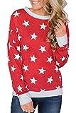 HOTAPEI Women's Tunic Top Long Sleeve Crewneck Star Pullover Fleece Sweatshirts Blouse for Women Fashion 2018 Stra Red Medium