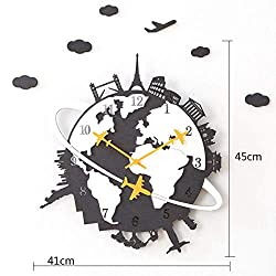 MGE UPS Systems Clock Wall Clock,Modern Creative Living Room Wall Maps Decorative Wall Clocks Personalized Silent Household Quartz Watches (Color : Black)