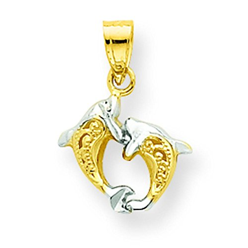10K Gold & Rhodium Plated Small Dolphin Charm Pendant Jewelry ()