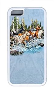 Find 20 Running Horses TPU Silicone Case Cover for iPhone 5C White