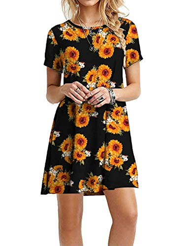 Women's Casual Plain Short Sleeve Simple T-Shirt Loose Floral Sunflower Dress