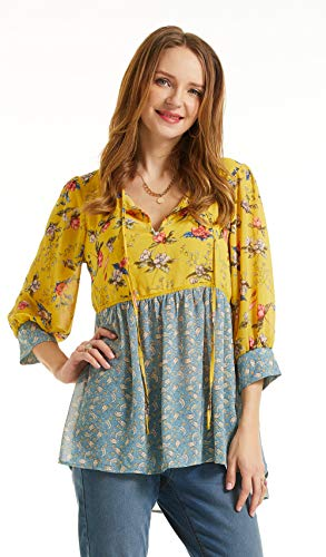 SONJA BETRO Women's Printed Woven Floral Notch Neck Babydoll Tunic Large