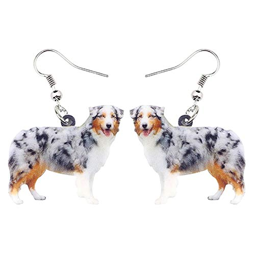 - Acrylic Happy Australian Shepherd Dog Earrings Novelty Animal Jewelry For Women Girls Accessories