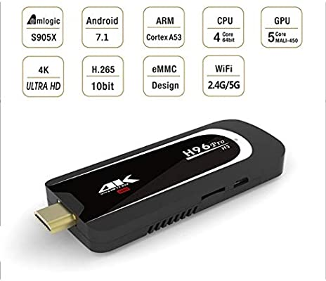 Losenlli Ajuste H96 Pro-H3 4K Tamaño pequeño Smart TV Dongle Stick Amlogic S905X Quad Core 2G + 16G TV Stick para Android 7.1: Amazon.es: Electrónica