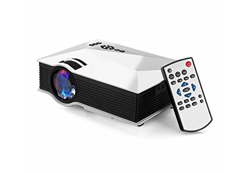 Projector,1200 Lumens WiFi Wireless Full Color 130'' Image Pro Mini Portable LCD LED Home Theater Cinema Game Projector HD 800x480P Video Support IP/IR/USB/SD/HDMI/VGA White by Umootek