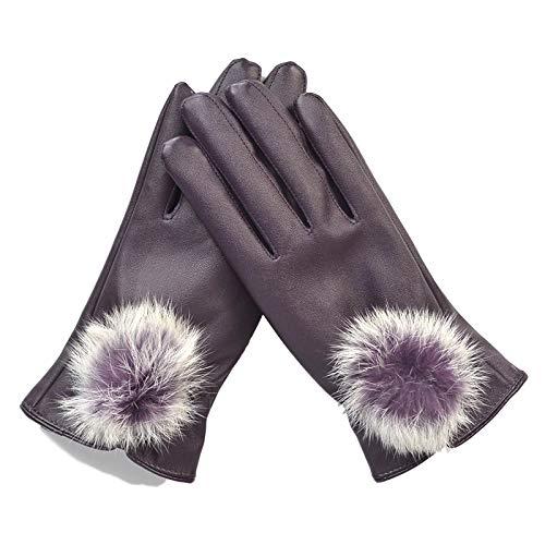 安西対角線無傷(TERA Dream) ほっこり温か 手袋 スマホ 対応 ポンポン 飾り付き PUレザー グローブ 裏起毛 レディース