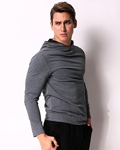 MODCHOK Men's Long Sleeve Hooded T Shirts Cotton Tee Tops Hoodies Sweatshirts Dark Grey XL by MODCHOK (Image #2)