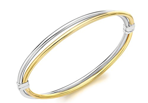 Carissima 9ct Two Colour Gold Double Crossover Bangle 9ct Gold Two Colour