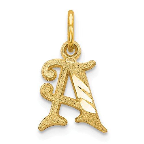 (JewelrySuperMart Collection 14k Yellow Gold Diamond-Cut Cursive Script Initial Pendant - Letter A - Yellow Gold)
