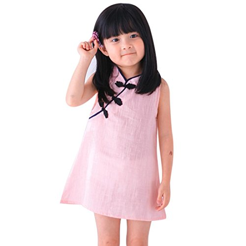 Misaky Kids Child Girls Summer Qipao Princess Dress Party Wedding Sleeveless Cheongsam Chinese Style (2/3T, Pink) -