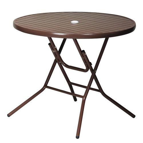 ガーデンアルミテーブル 折りたたみ式 直径90cm ブラウン B00N1P1ZJ6 ブラウン ブラウン
