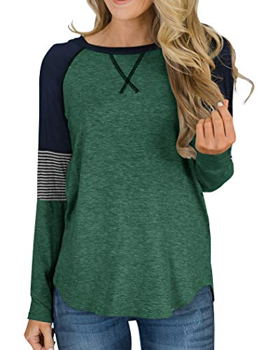Hilltichu Women's Color Block Round Neck Tunic Tops Casual Long Sleeve and Short Sleeve Shirt Blouse Green