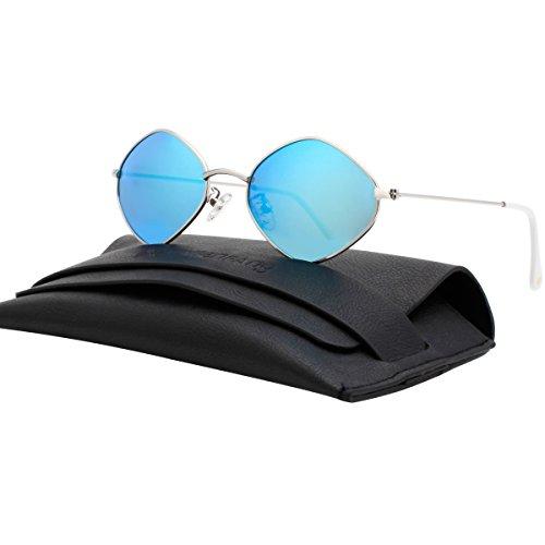 VIVIENFANG Lightweight Diamond Shape Mirror Lens Small Polarized Sunglasses For Unisex G87563B - Shape Male Diamond Face Glasses
