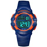 Kids Digital Watches for Girls Boys,Outdoor Sports Waterproof Multi Function Wristwatch with Alarm/Timer/LED Light/Dual Time Zone/Soft Rubber Strap for Children Gift Box (Blue+Orange): more info