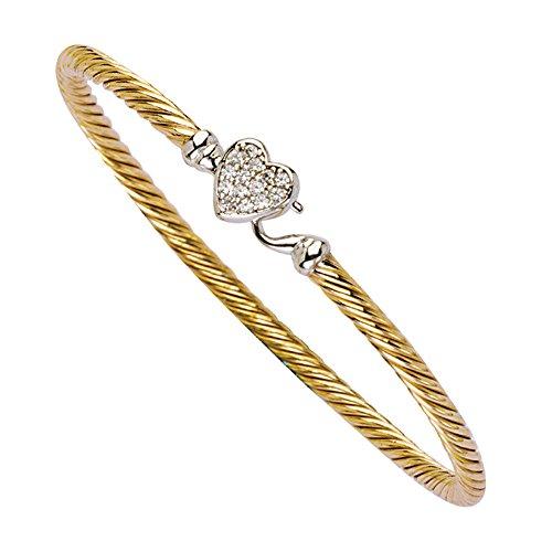 Bangle Bracelet, Cz Heart Twisted Bangle/Hook Lock by DiamondJewelryNY