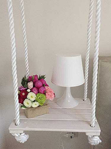 AD Planet High Quality Wooden Bedside Swing Shelf for Home & Garden (White, 18 x 11 inches)