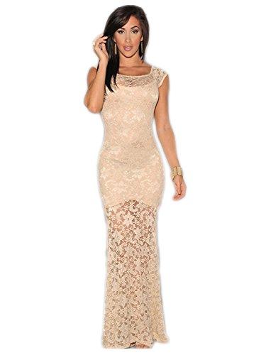 Mesdames élégant en dentelle Crème partiellement doublé robe de soirée cocktail party Dance Club Wear Taille M Royaume-Uni 8–10EU 36–38