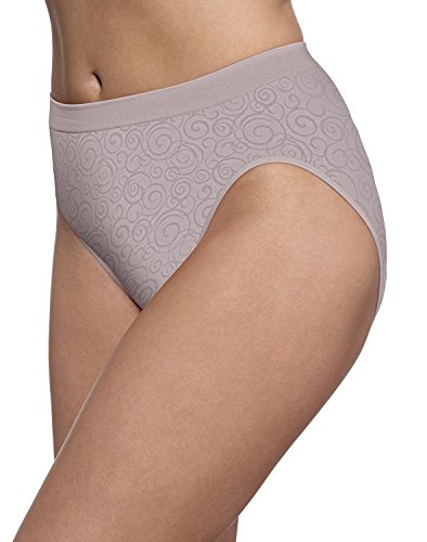 Seamless High Cut Brief (Bali Women's Comfort Revolution Seamless High-Cut Brief Panty 3-Pack (8-9, Warm Steel Swirl))