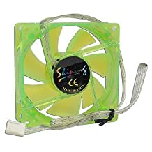 """3"""" x 3"""" (80mm) UV Reactive Sleeve Bearing Case Fan w/3 Blue LEDs & 3-Pin Connector (Green)"""