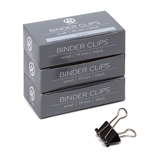 U Brands Binder Clips, Small 3/4-Inch Width, 1/3-Inch Paper Holding Capacity, Black and Silver Steel, 36-Count