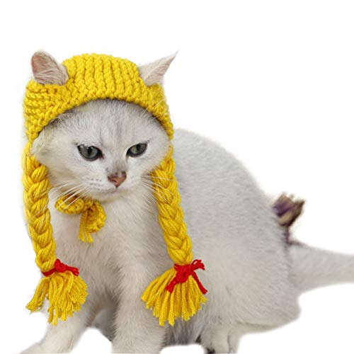 Bonaweite Cat Hat Handmade Woolen Cute Caps Knitted Costume for Christmas Hollaween Parties]()