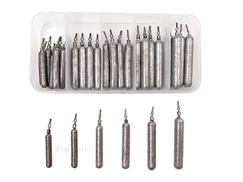 (Pencil Drop shot Weights Pure Lead Fishing Sinkers Weights Set w/ Fishing Tackle Box,3/17-3/5oz,30PCS/Box)