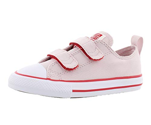 Converse Kids' Chuck Taylor All Star 2V Seasonal Low Top Sneaker, Barely Rose/White/Enamel red, 9 M US Toddler