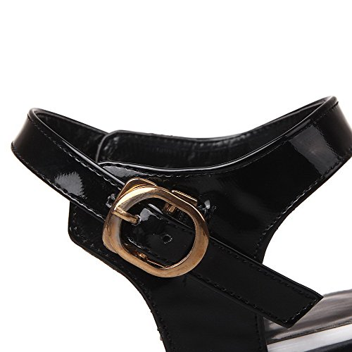 Toe White Color Heels High Patent Open AgooLar Leather Women's Sandals Assorted Buckle zZOFwP0Xq
