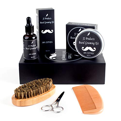 Beard Kit - Beard Grooming Kit, Beard Oil Gifts for Men, Conditioning Balm, Trimmer, Mustache Wax, Beard Brush, Beard Comb, Stainless Steel Trimmers For Care and Maintenance
