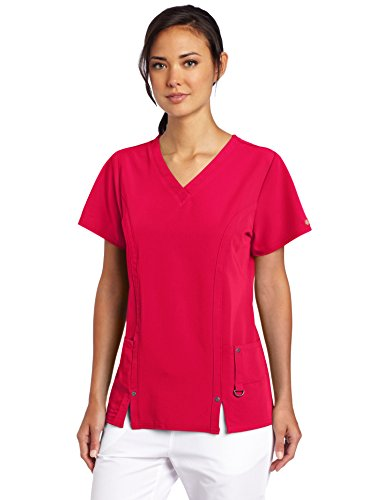 - Dickies Women's Scrubs Xtreme Stretch V-Neck Shirt, Red, Large