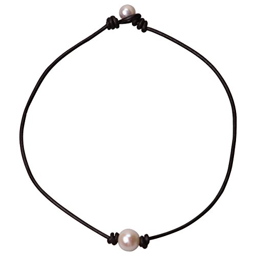 Pearl Leather Choker Necklace Women Single White Bead Jewelry on Genuine Leather Handmade Gift
