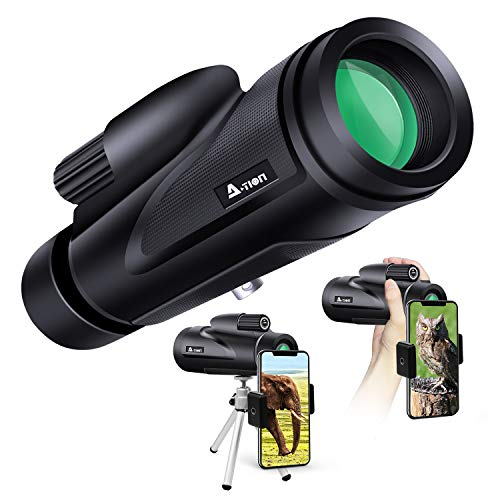 A-TION Monocular Telescope, 12×50 HD Waterproof Scope with Phone Photography Adapter, Dustproof and Dampproof BAK4 Prism for Bird Watching Hunting Camping Travelling Scene