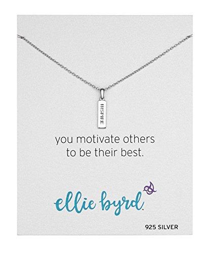 Ellie Byrd Sterling Silver Inspire  Vertical Bar Sentiment Pendant Necklace  16    2  Extender