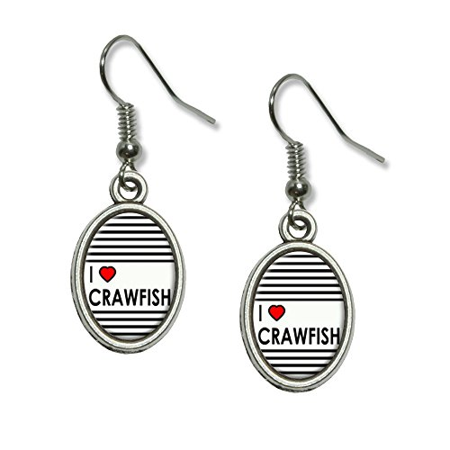 [I Love Heart Crawfish Novelty Dangling Drop Oval Charm Earrings] (Crawfish Costumes)