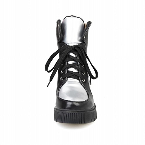 Latasa Womens Fashion Lace-up Platform Snow Sneakers, Cold Weather Short Boots Black