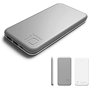 Puridea S2 Gray 10000mAh 3A Output Portable Battery Power Bank,Backup Phone Charger (2.4A Input Li-polymer Battery Banks) for iPhone 5/6/7/Plus iPad Air2/Pro