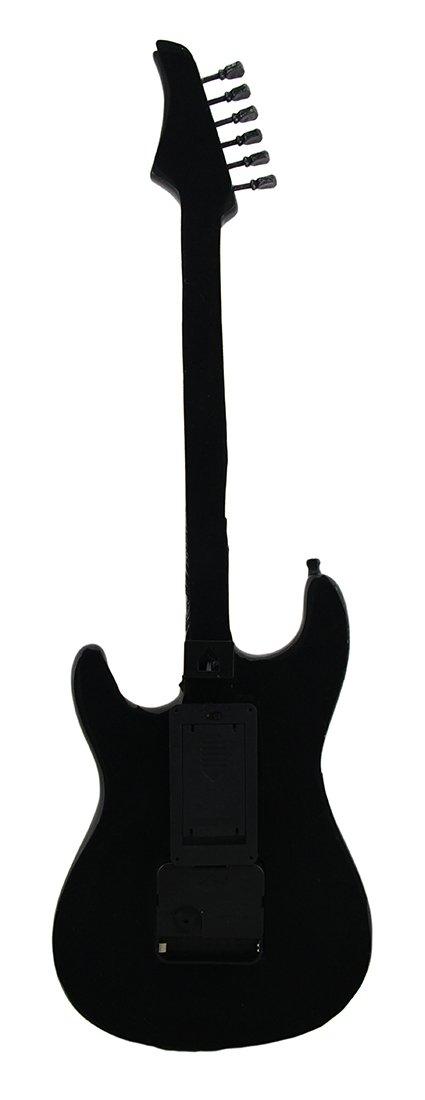 Relojes de pared de resina a medida de tiempo reloj de pared de guitarra eléctrica de calavera y huesos 16 LED 21 inch 7 x 21 x 2 cm Negro Modelo # 77553: ...