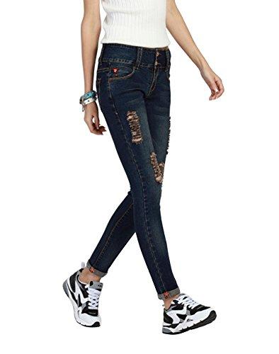 Strappati Di Black A Jeans blue elastico Grandi Micro Elastico Matita Dimensioni Mena Donna Alto CqXwPxHR