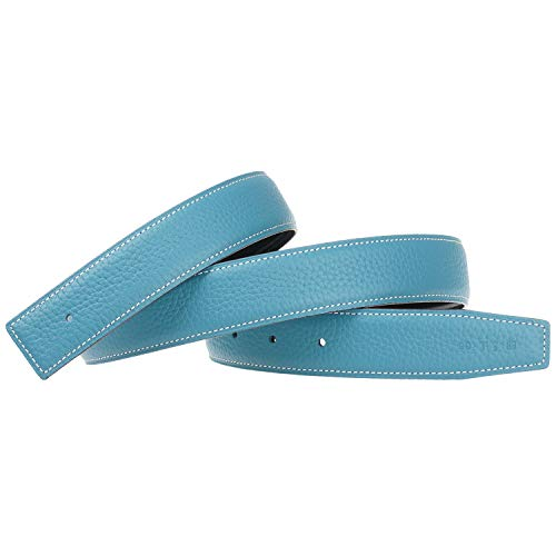 Replacement Belt Strap Reversible Replacement Belt Strap Genuine Leather Fits - for Hermes 1.3in Wide 32inch Light-Blue