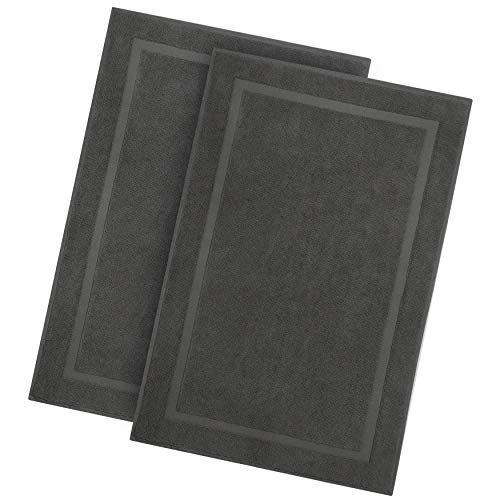 Cotton Craft - 2 Pack Luxury Bath Mat - Charcoal - 100% Ringspun Cotton - Oversized 21x34 - Heavy Weight 1000 Grams - 2 Ply Construction - Highly Absorbent - Soft Underfoot Easy Care Machine Wash (Pottery Rugs Bath Clearance Barn)