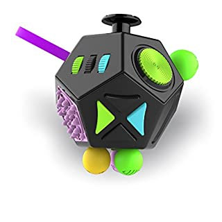 Minilopa Fidget Dodecagon –12-Side Fidget Cube Relieves Stress and Anxiety Anti Depression Cube for Children and Adults with ADHD ADD OCD Autism (B2 Black Colorful)