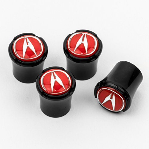 HEM HIGH-END MOTORSPORTS Black Tire Valve Stem Caps for Acura Vehicles, Red Acura Logos, Made in USA ()