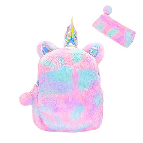 - Idubai Cute Plush Unicorn Backpack,3D Unicorn Bag Soft Rainbow Backbag Mini Backpack for Girls Daughter Toddler Kids Gifts,Free Pencil Bag