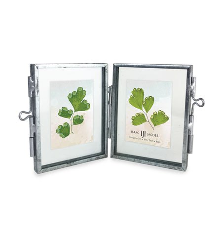 Isaac Jacobs Brass and Glass DOUBLE Floating Frame with Sliding Locket Closures (2x3, Antique Silver)